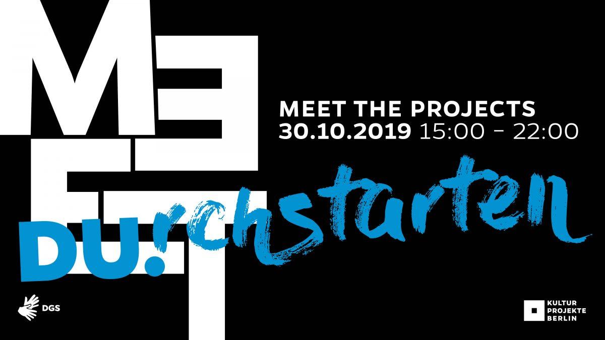 Veranstaltungsplakat für Durchstarten-Meet the Projects am 30.10. von 15 bis 22 Uhr