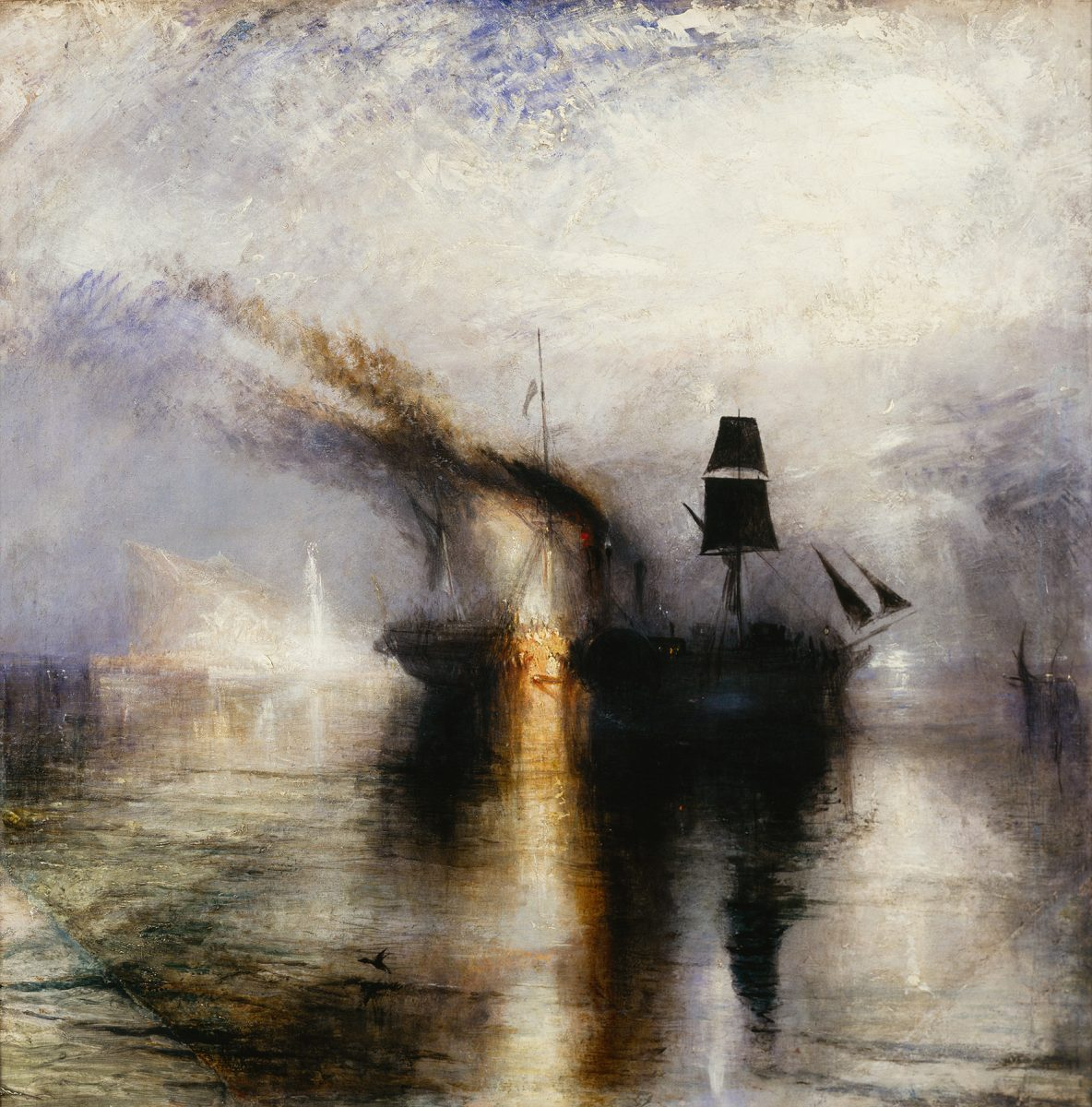 Man sieht auf ein Bild mit zwei Schiffen auf einem Meer. Die Schiffe sind schwarz vor einem hellen Hintergrund. Sie spiegeln sich dunkel auf dem Wasser.