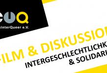 Logo von TransInterQueer e.V. und die Überschrift:Film und Diskussion: Intergeschlechtlichkeit und Solidarität