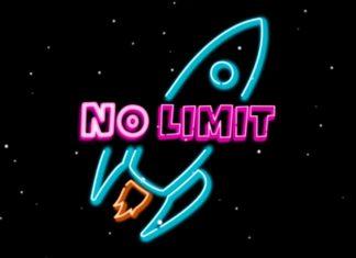 """Grafisch und stark vereinfacht ist eine hellblaue Rakete dargestellt, die in die Höhe schießt. Ihren Antrieb bildet eine orangefarbene Flamme. Der Hintergund ist schwarz und mit vielen kleinen Sternen übersät. Vor der Rakete ist in pinker Farbe und in Blockschrift der Schriftzug """"NO LIMIT"""" zu lesen, dabei ist das """"No"""" in einem helleren Pink als das """"Limit""""."""