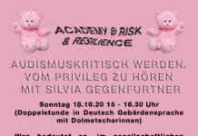 """Beschreibungstext des Workshops auf rosa Hintergrund im Design der """"Academy - die feministische Traumschule"""" des Performancekollektivs Henrike Iglesias"""
