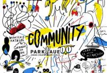 Ausschnitt aus einer Comiczeichnung. Man sieht verschiedene Symbole für das Community Programm. In der mitte ist das Parkaue-Community-Logo. Die zeichnungen sind schwarz auf weißem Hintergrund, es gibt rote, blaue und gelbe Farbflecken.